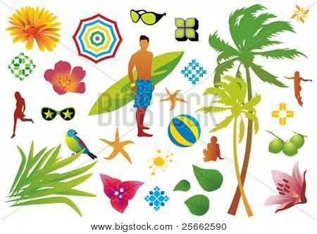 Summer design elements.  Visit my portfolio for more vectors.