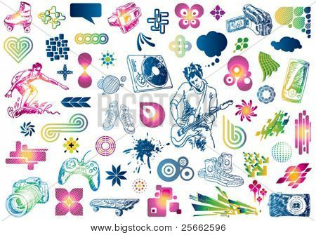 Leisure design doodles: Value pack of many design elements. You can use them to create business cards, posters, flyers, brochures, ...