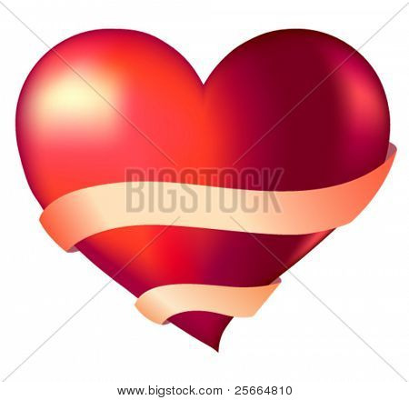 heart and ribbon with place for text