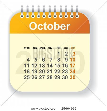 calendar - october (look for other month in my portfolio)