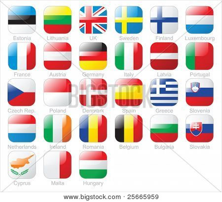 The European Union countries flags