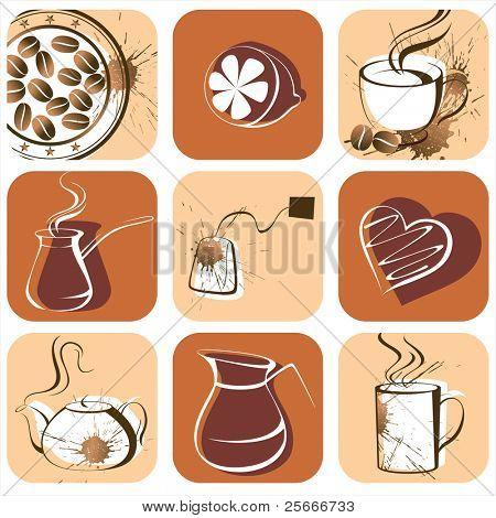 coffee and tea icons set