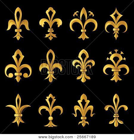 12 golden fleur de lys design elements
