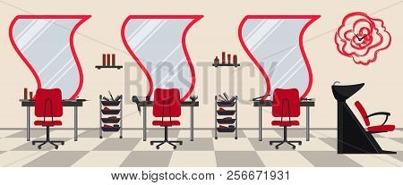 poster of Interior Of A Hairdressing Salon In A Red Color. Beauty Salon. There Are Tables, Chairs, A Bath For