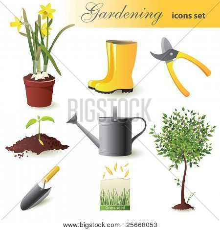 Gardening icons set - vector illustration