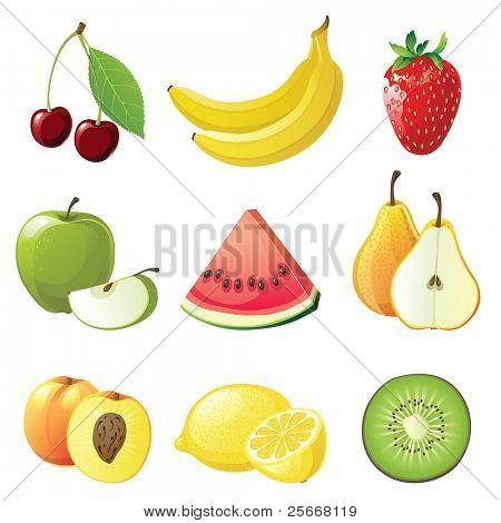 conjunto de 9 iconos de frutas jugosas