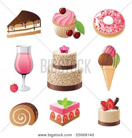 sweets and candies icons set - vector illustration
