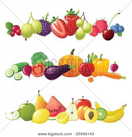 fruits vegetables and berries vector borders