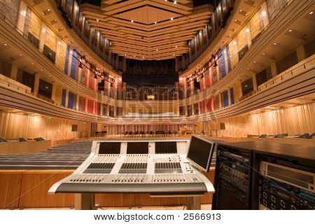 Modern Auditorium Inside And An Audio Mixer