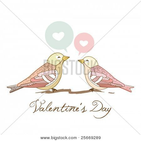 valentine's day greeting card with 2 sweet love birds