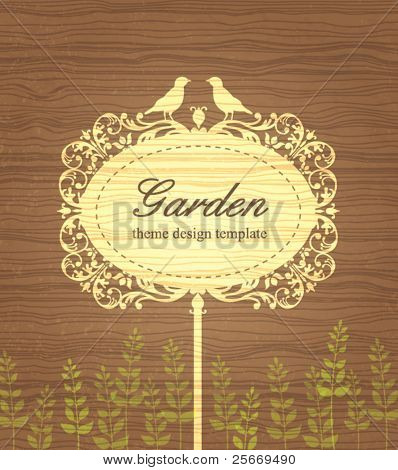 Garden theme design template with vintage wood background