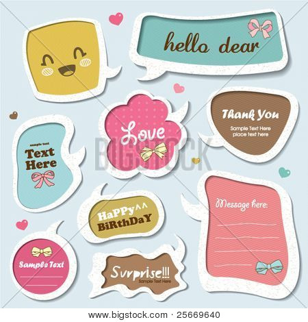 vector set of cute speech bubbles, stickers, text box template...