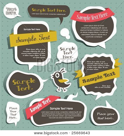 cute scrapbook elements, speech bubbles, text box...