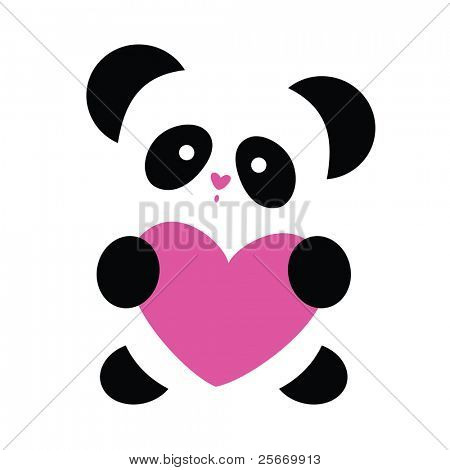 love the panda with the heart on a white background