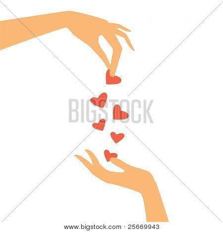 two hands pass each other heart
