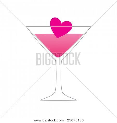 symbol of love - love of a drink - a glass with a heart