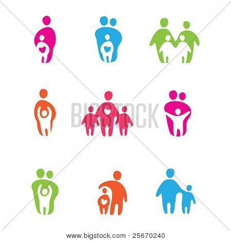 set of icons - the parents and children