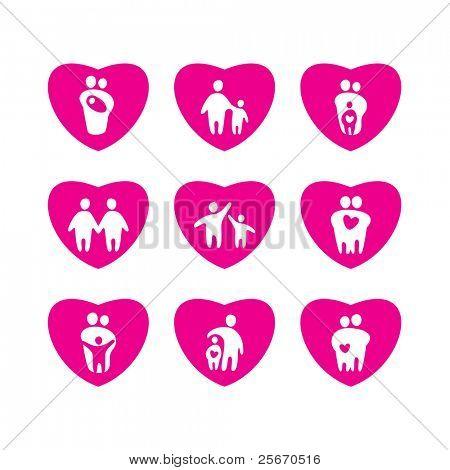 Icons - love, parents, children