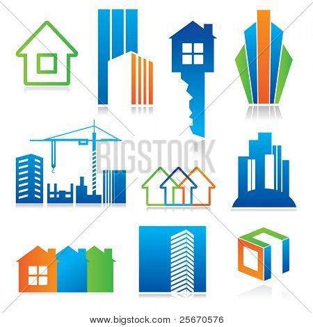 Collection of templates icons - Building of and real estate. Abstract color element set of corporate templates. Just place your own name.