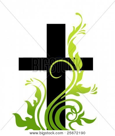 Easter background. Cross and grass