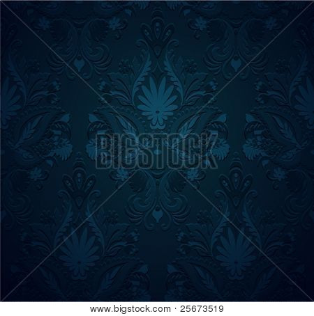 Seamless pattern vintage background, grunge ornament floral texture