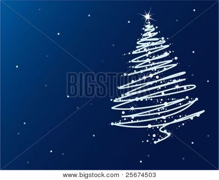 Abstract blue Christmas tree