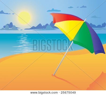 Beach umbrella. Vector illustration.