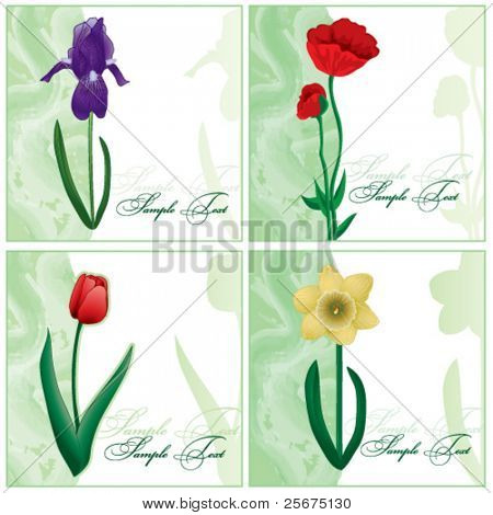 Set of the flower cards