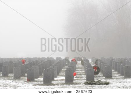 Numerous Gravemarkers In A Military Cemetery
