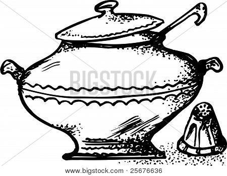 Bowl and saltcellar