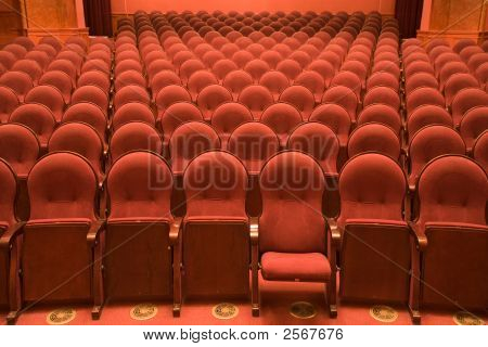 Velvet Chairs In An Old Cinema