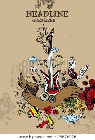 vector of abstract music elements and background