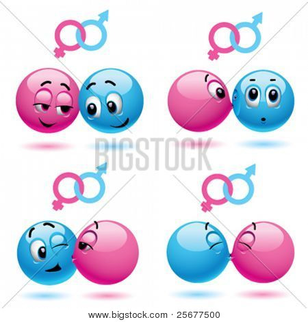 Smiley balls like male and female