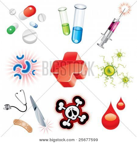 Set of icons which contains medical items