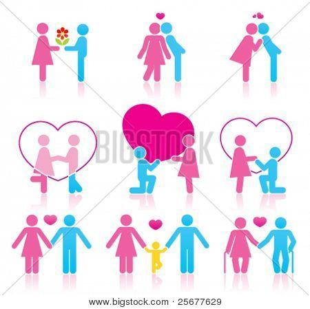 Pictogramas que representan la pareja de enamorados