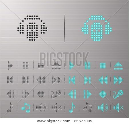 Perforated Audio and media buttons
