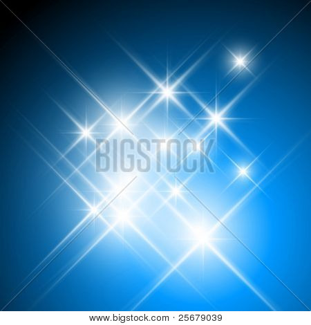 Vector glittering stars on dark blue background