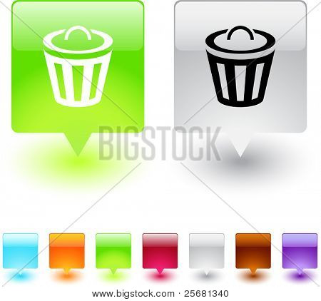 Dustbin glossy square web buttons.