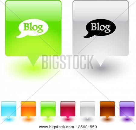 Botones de web cuadrado brillante blog.