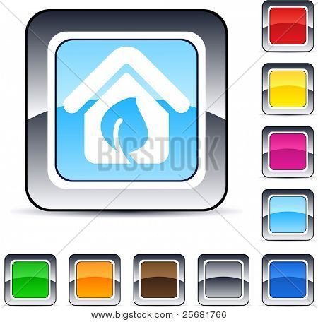 Green home glossy square web buttons.
