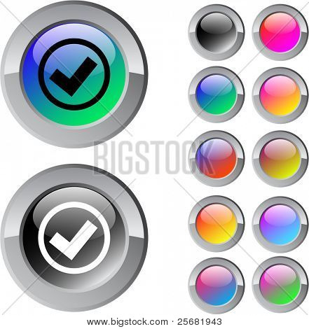 Mark multicolor glossy round web buttons.