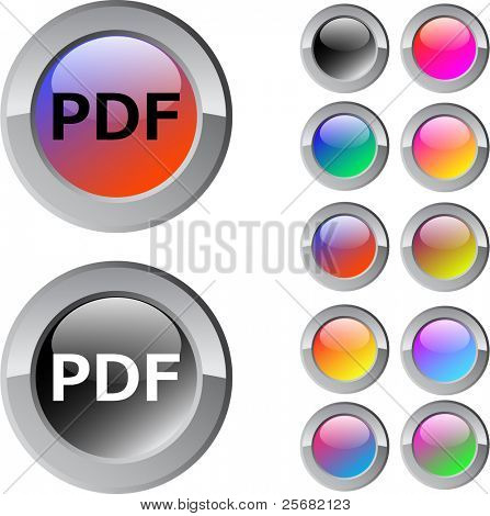 PDF multicolor glossy round web buttons.