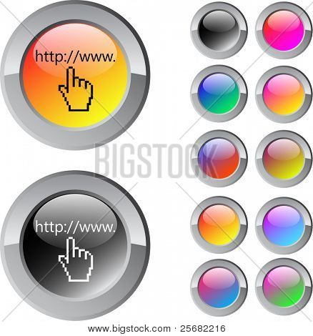 Www click multicolor glossy round web buttons.