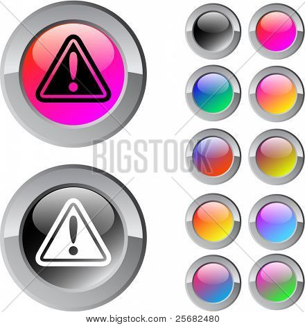 Exclamation sign multicolor glossy round web buttons.