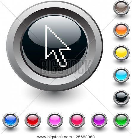 Pixel arrow  metallic vibrant round icon.