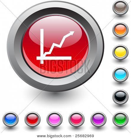 Positive trend  metallic vibrant round icon.