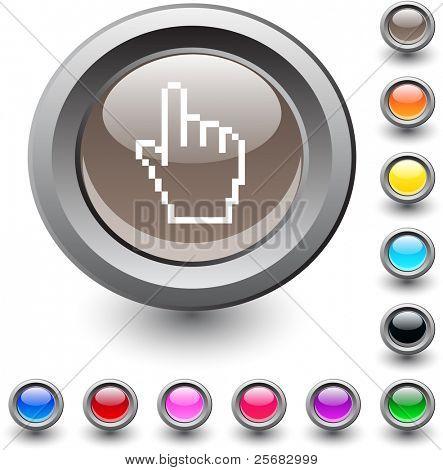 Pixel hand  metallic vibrant round icon.
