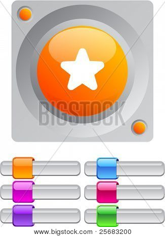 Star vibrant round button with additional buttons.