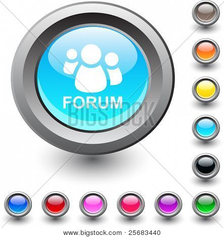 Forum  metallic vibrant round icon.