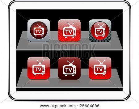 TV Set of apps icons. Vector illustration doesn't contain transparency and other effects. EPS8 Only.